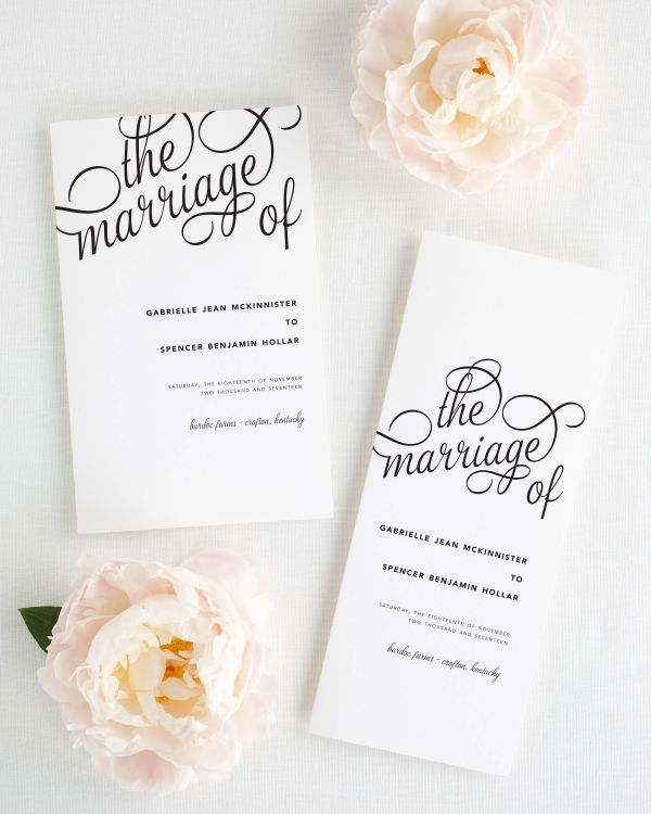 Statement Script Booklet Wedding Programs