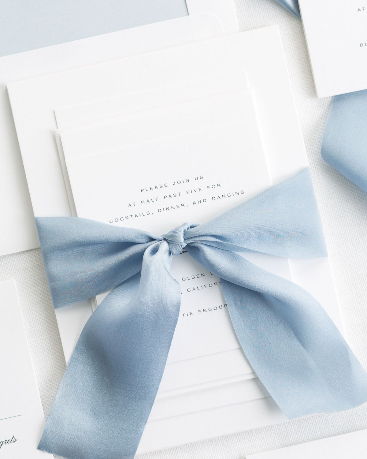 Light Blue Wedding Invitations with Silk Ribbon
