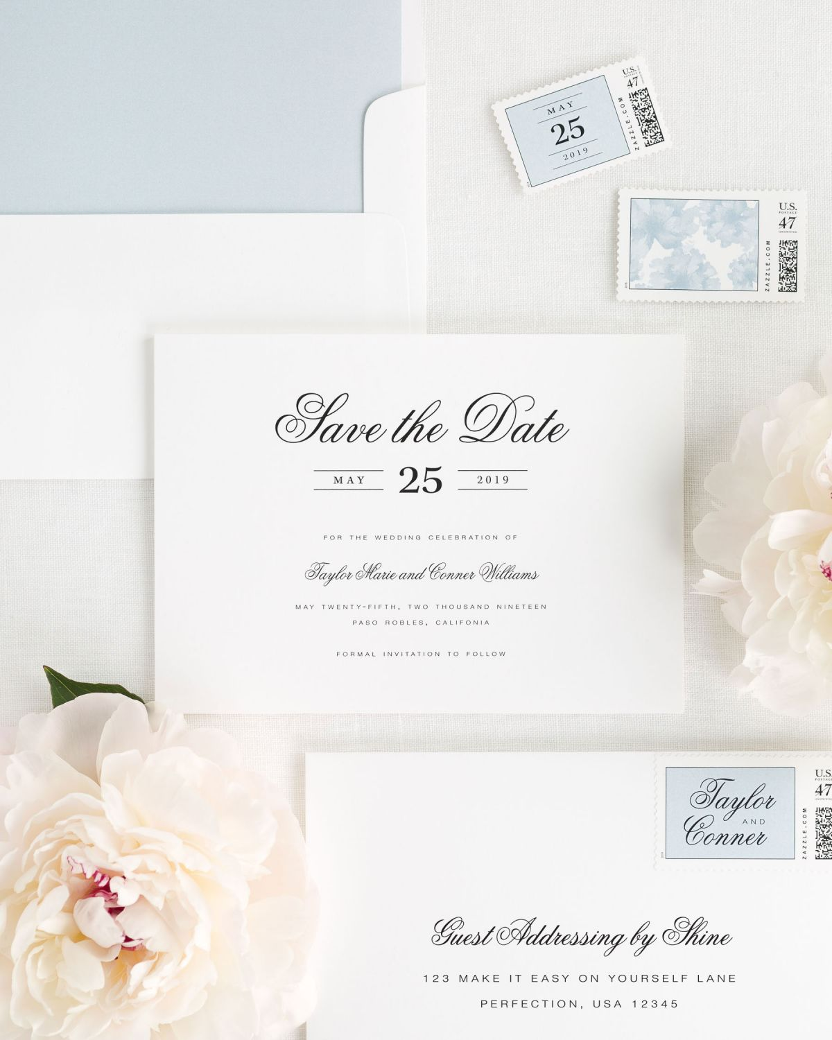 Elegant Save the Dates in dusty blue with Guest Addressing and Custom Postage
