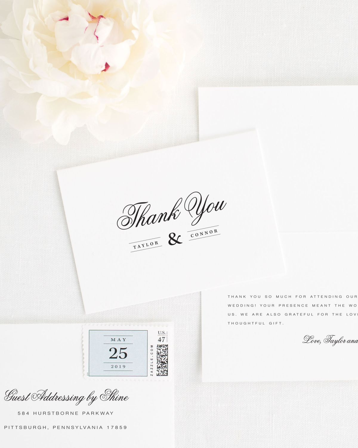 Timeless Thank You Cards with personialized message