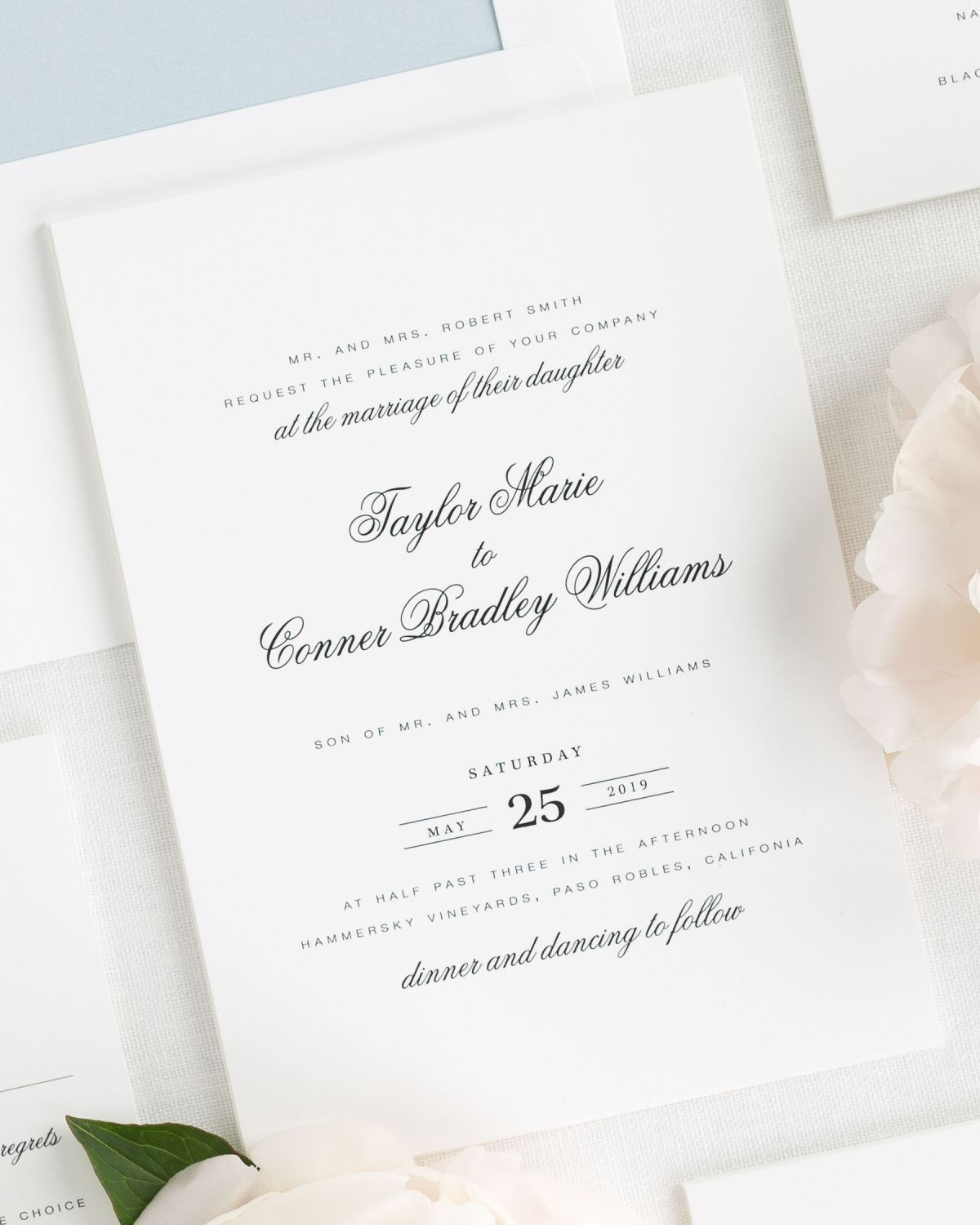 Timeless wedding invitations with a unique date