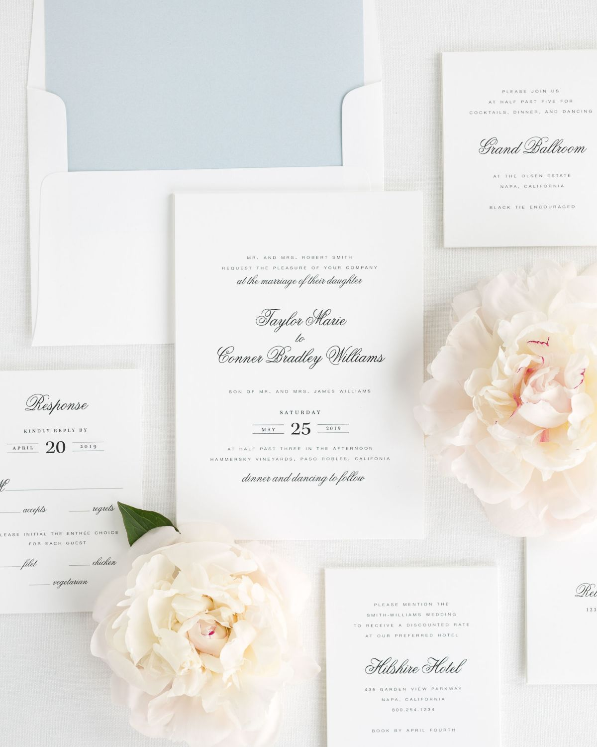 Classic dusty blue Wedding Invitations with a solid Envelope Liner