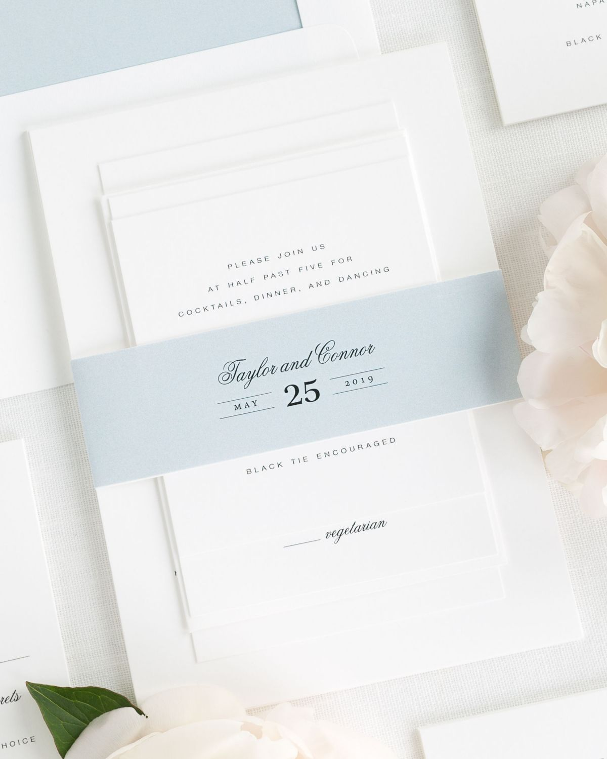 Ice Blue Wedding Invitations with Belly Band and Solid Envelope Liner