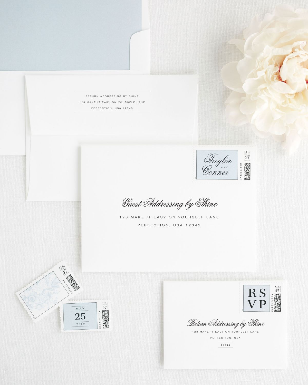 nWedding Invitation Envelopes with Ice Blue Custom Postage and Solid Liner
