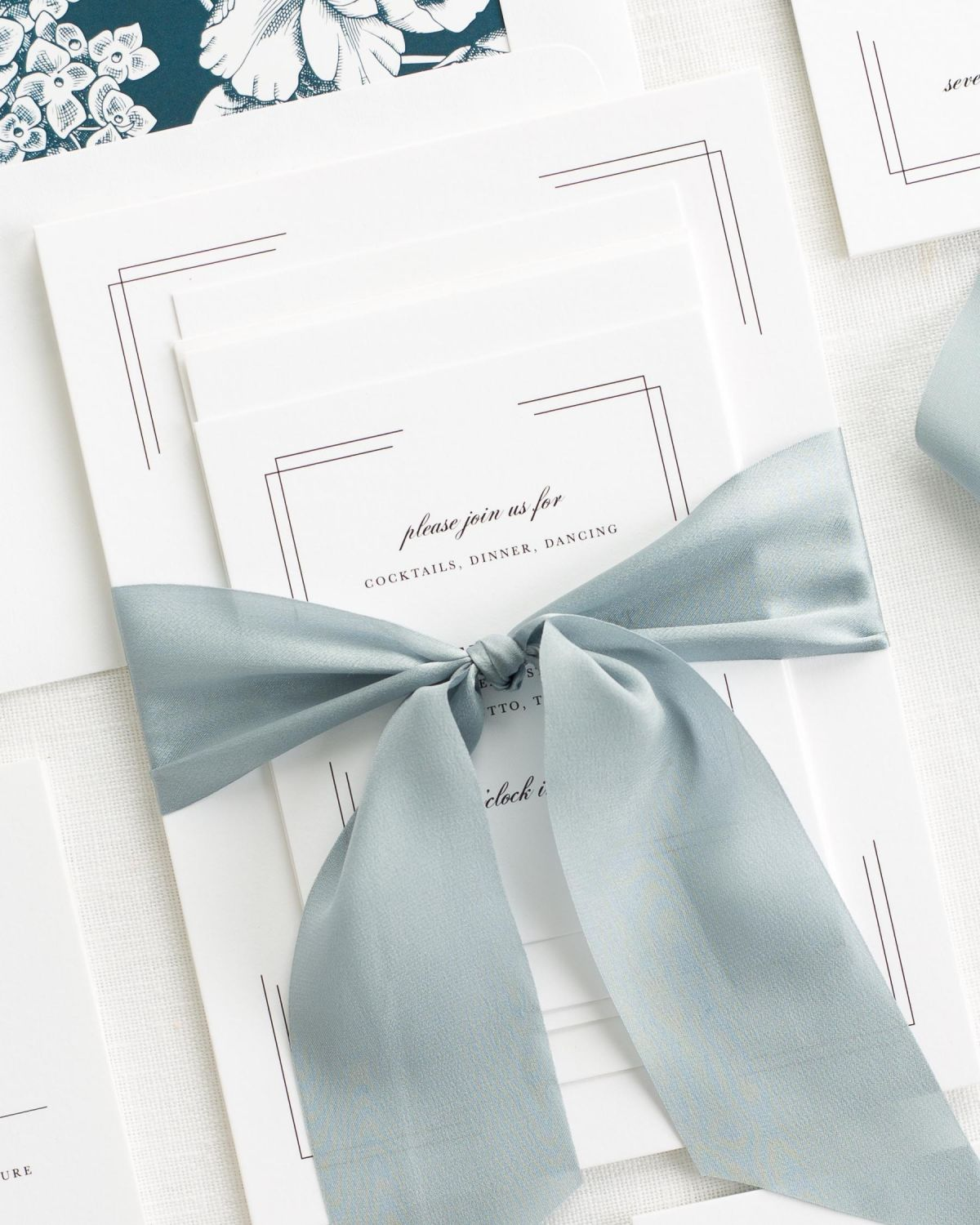 Complete Wedding Stationery Set with Steel Blue Ribbon and Enclosures
