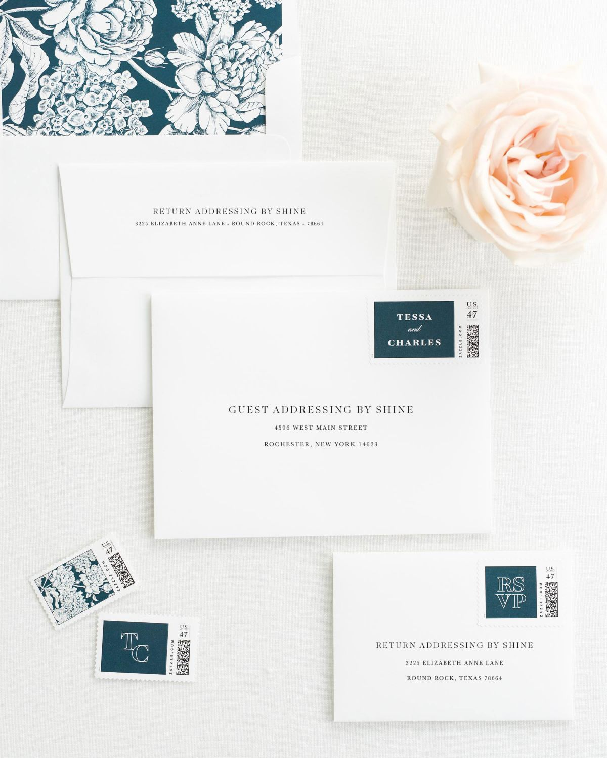 Wedding Invitation Envelopes with Pre-Printed Addresses and Matching Midnight Custom Stamps