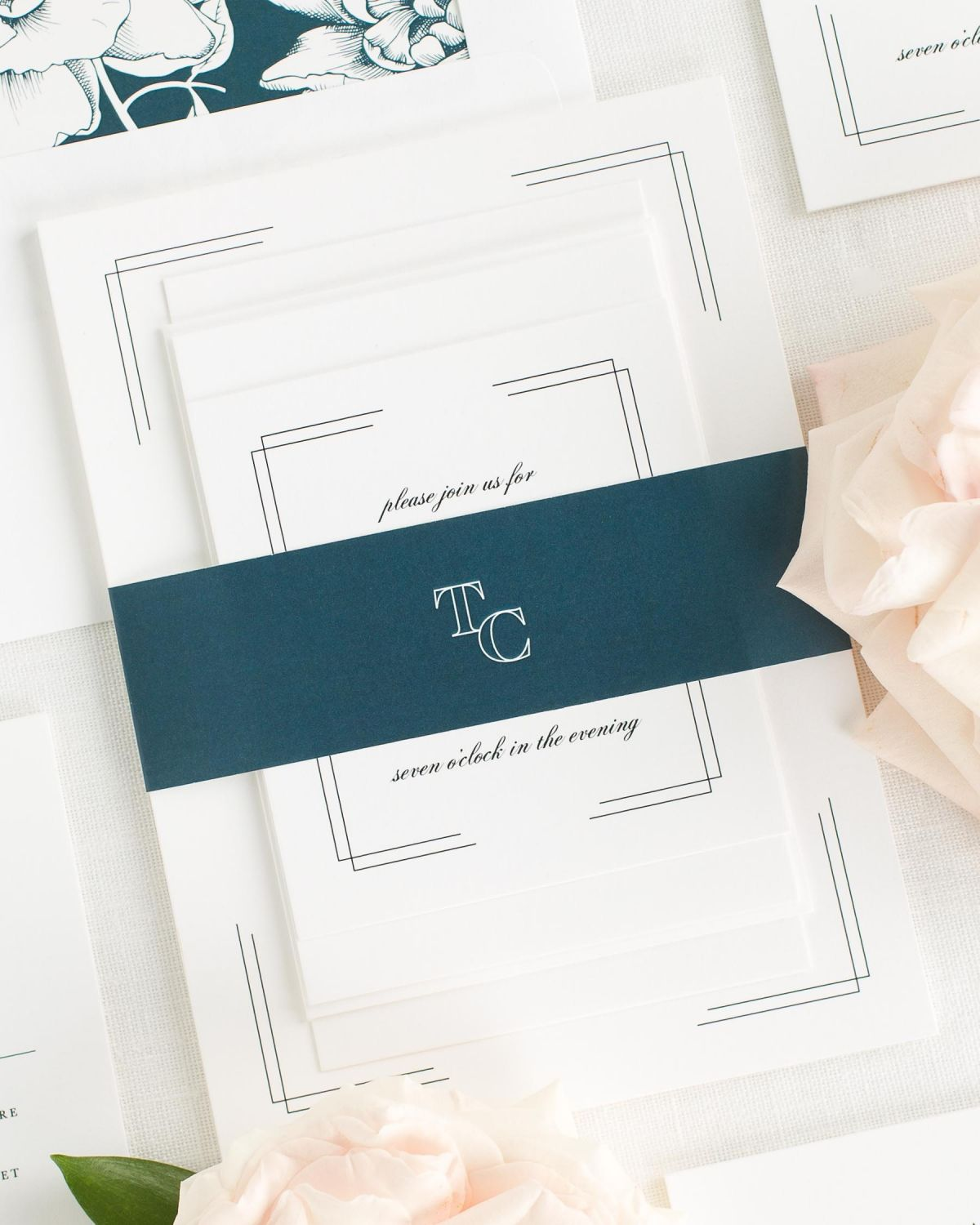 Midnight Wedding Invitations with Belly Band and Blooms Envelope Liner