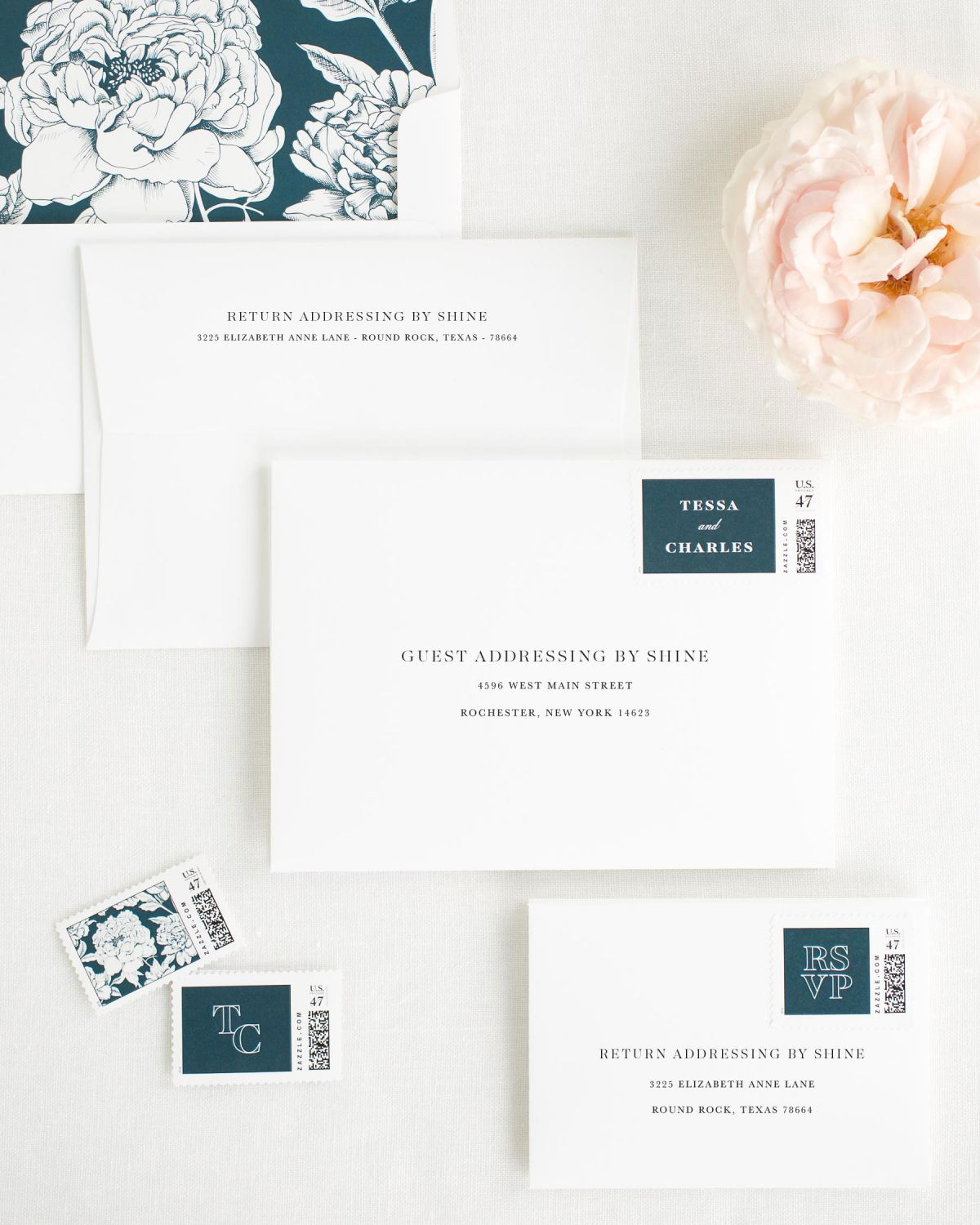 Wedding Invitation Envelopes with Midnight Custom Stamps and Blooms Liner