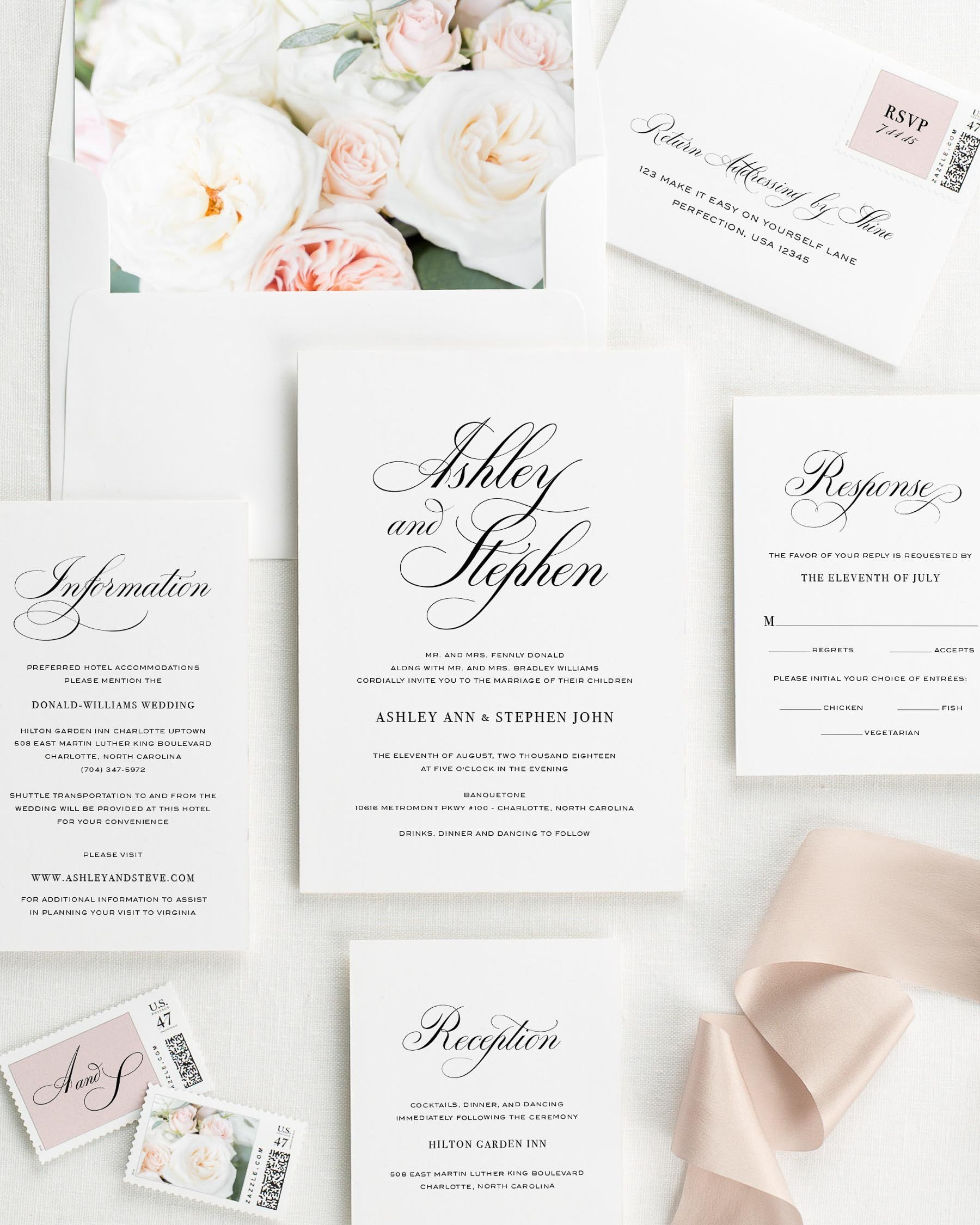 Timeless Calligraphy Floral Wedding Invitations - Floral Wedding ...