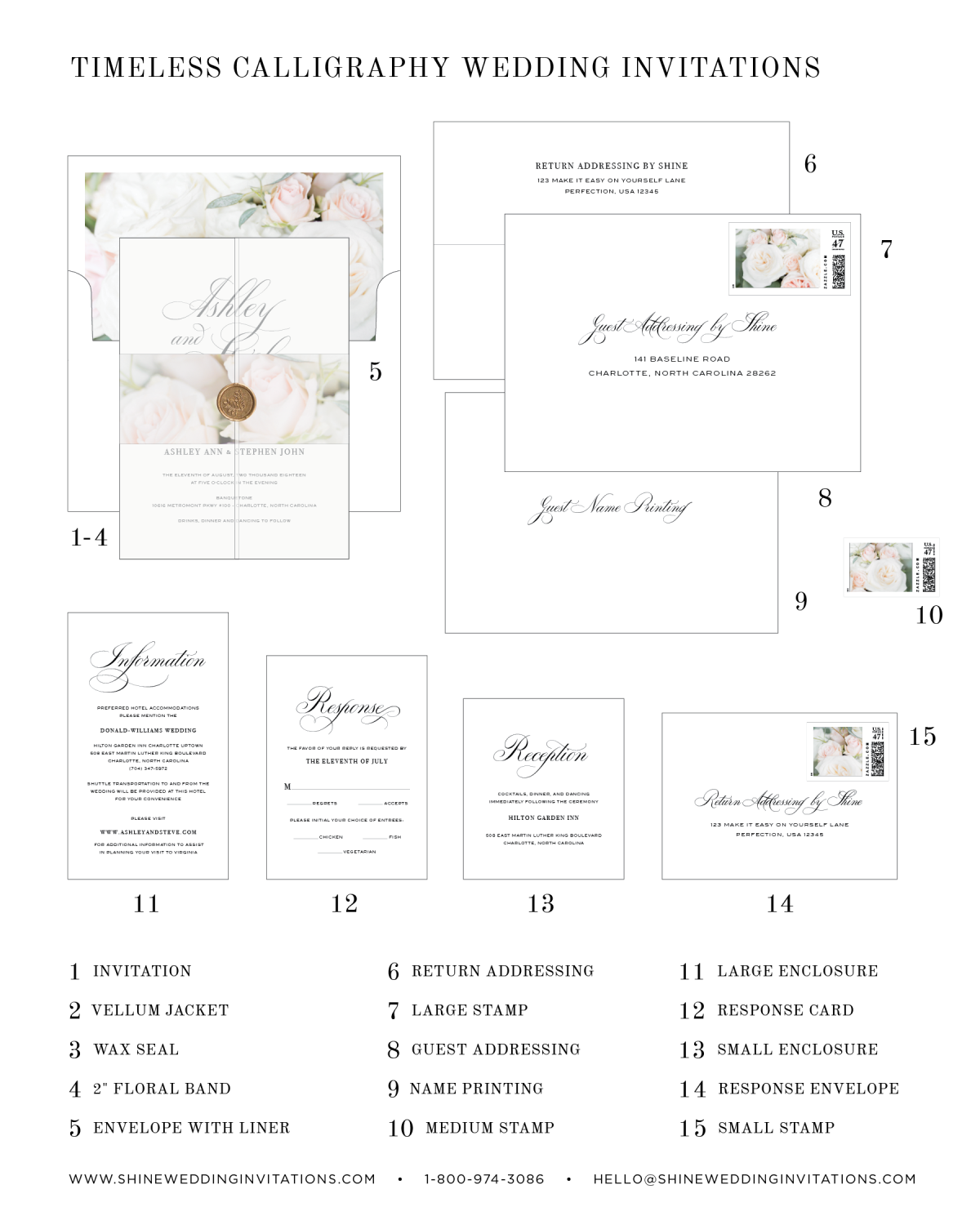 Timeless Calligraphy Floral Wedding Invitation Diagram