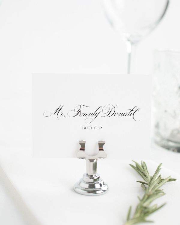 Timeless Calligraphy Place Cards
