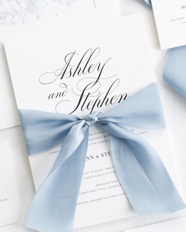 Timeless Calligraphy Ribbon Wedding Invitations