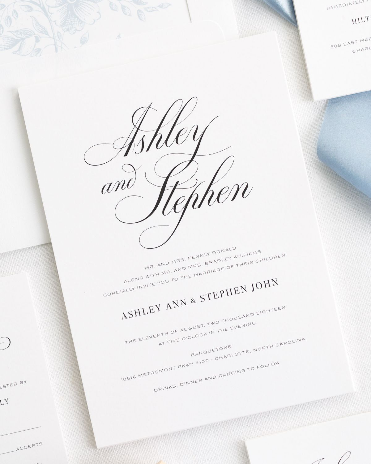 Timeless Calligraphy Ribbon Wedding Invitations Ribbon
