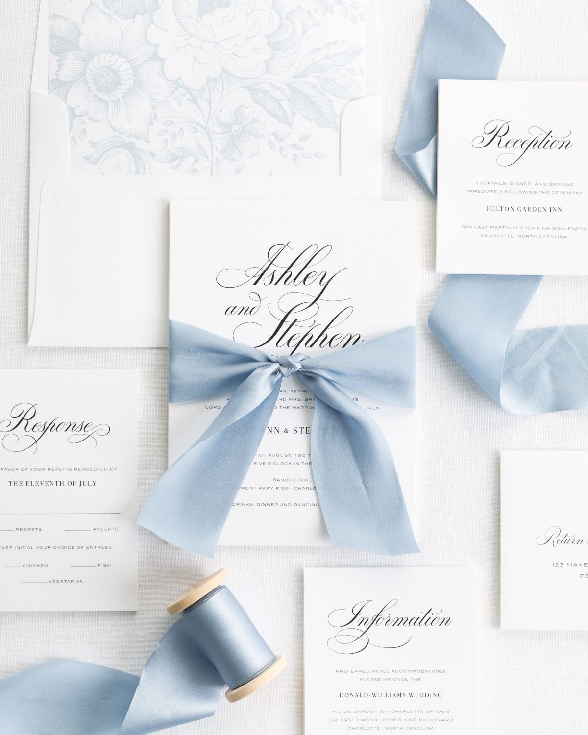 Wedding Invitations With Ribbons: Timeless Calligraphy Ribbon Wedding Invitations