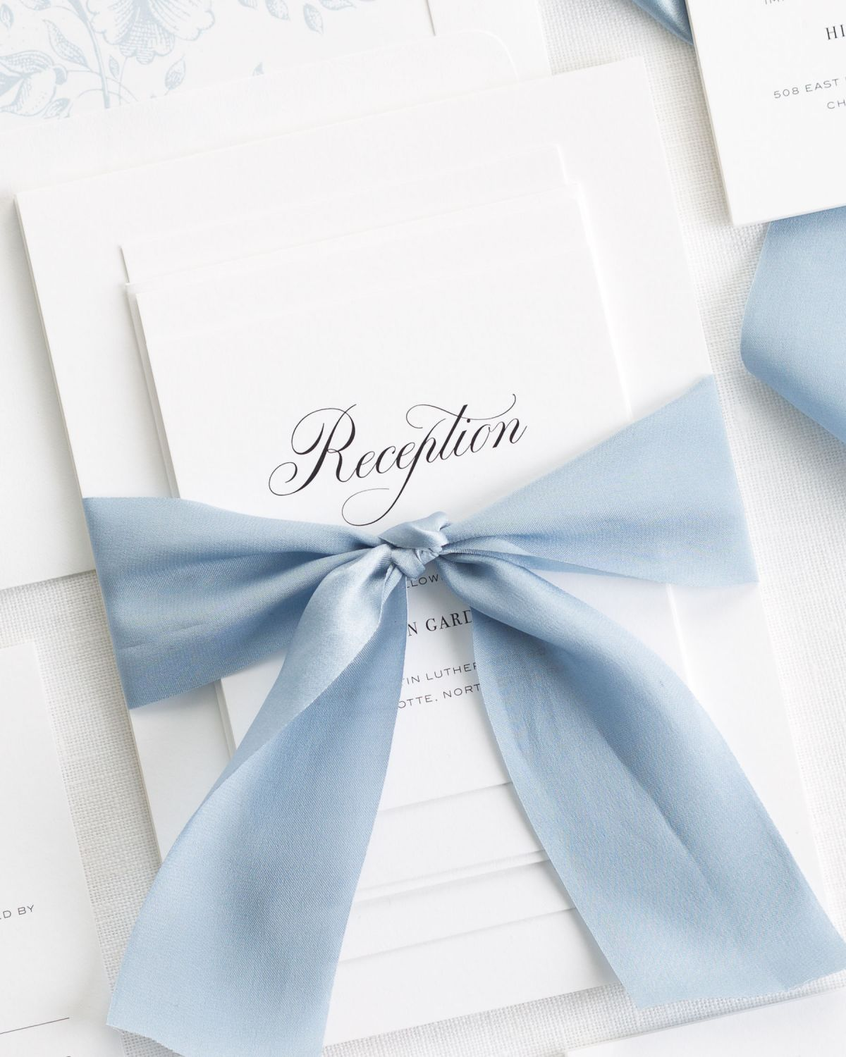 Ice Blue Wedding Invitations With Silk Ribbon