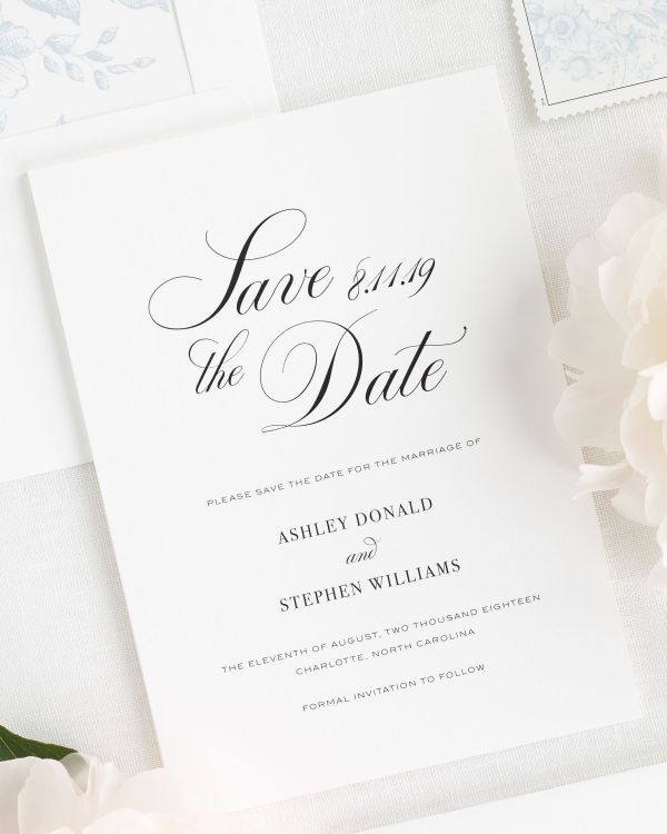 Timeless Calligraphy Save the Date Cards