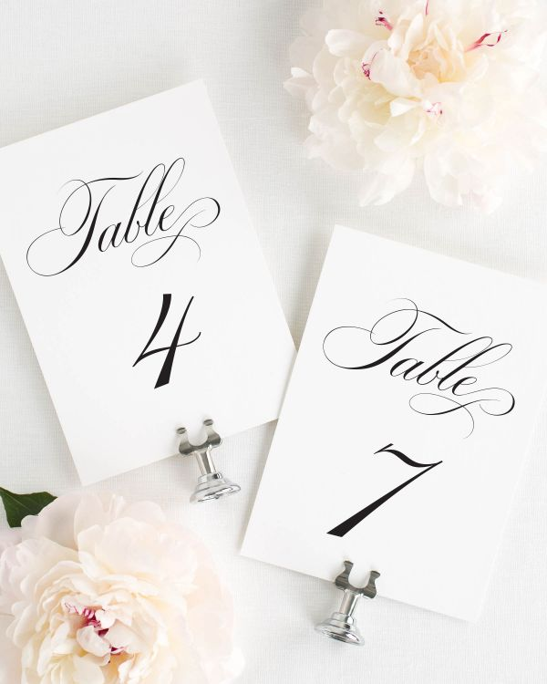 Timeless Calligraphy Table Numbers