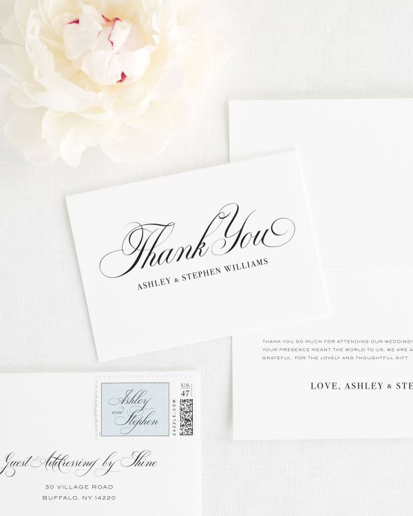 Timeless Calligraphy Thank You Cards