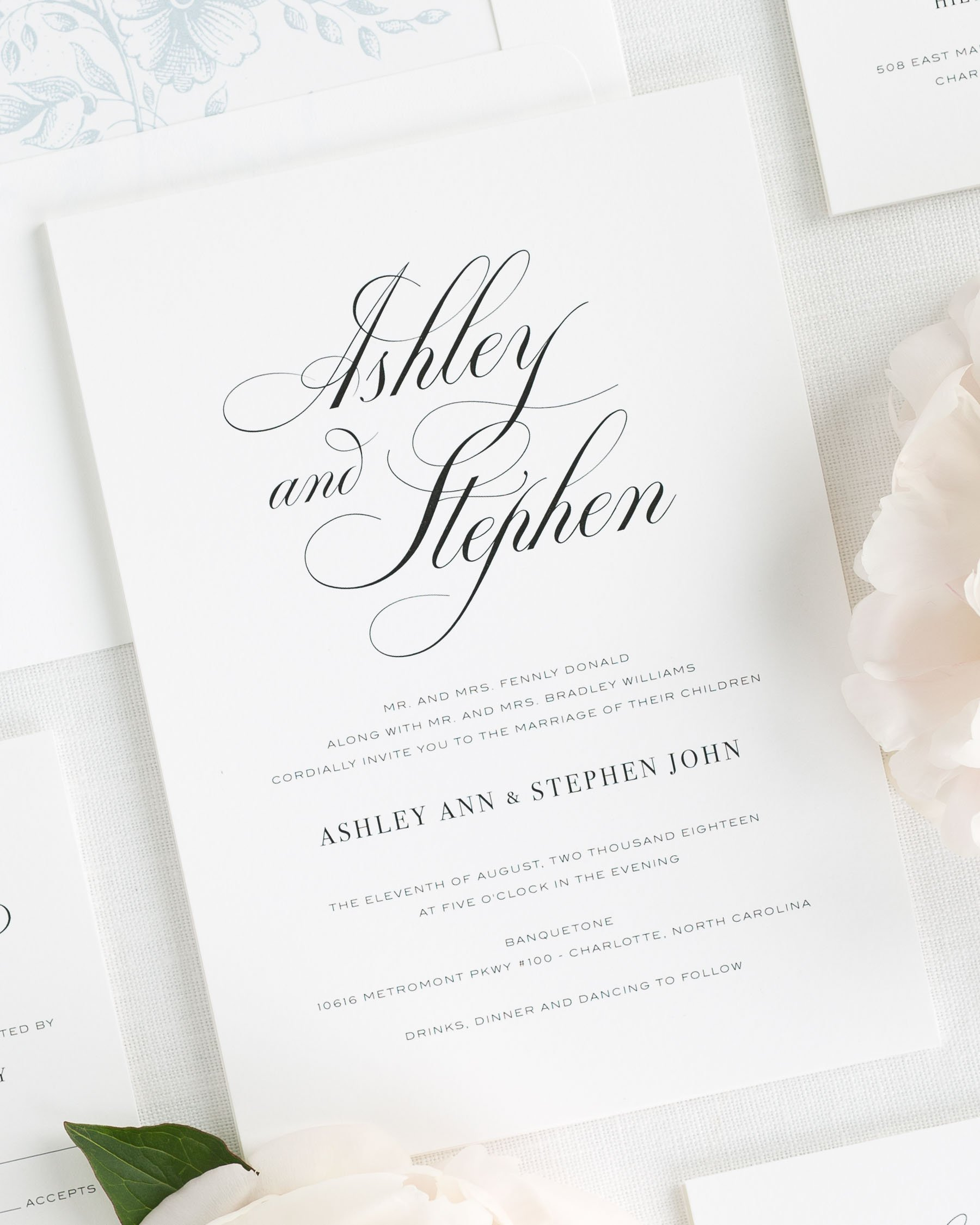Timeless Calligraphy Wedding Invitations