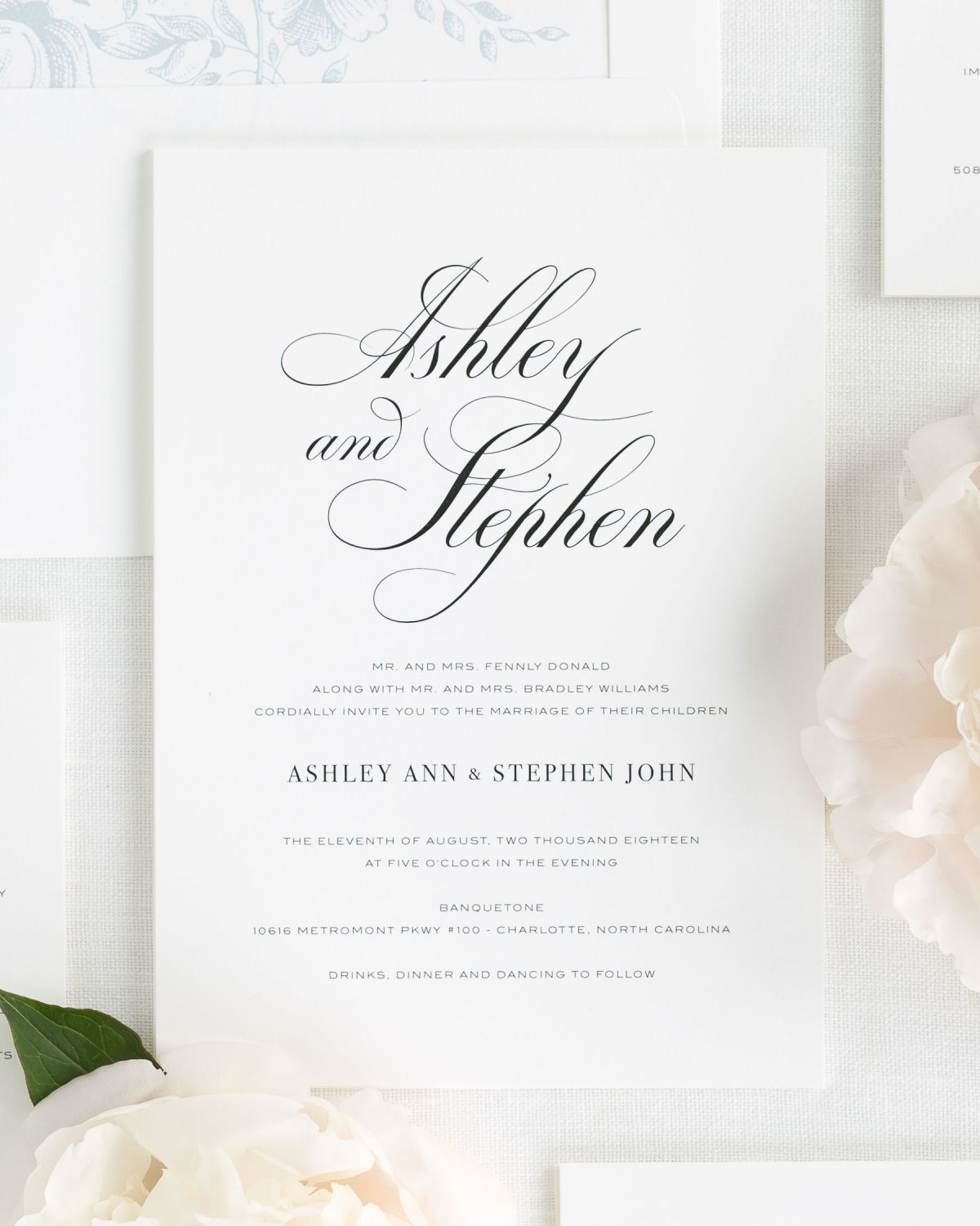 Timeless Wedding Invitations with Large Script Names
