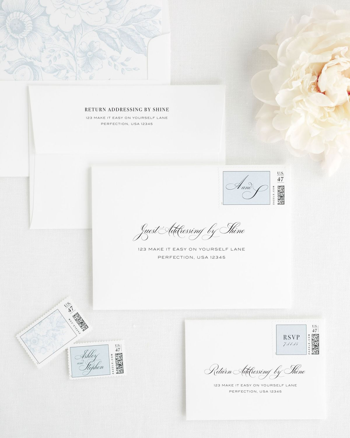 Wedding Invitation Envelopes with Guest Addressing and Custom Stamps