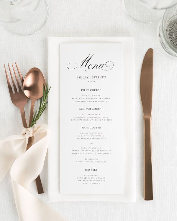 Timeless Calligraphy Wedding Menus
