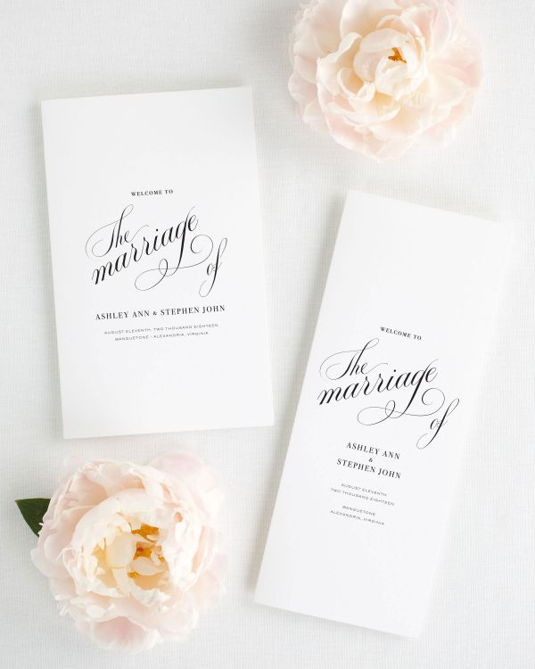 Timeless Calligraphy Booklet Wedding Programs