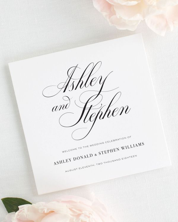 Timeless Calligraphy Wedding Programs