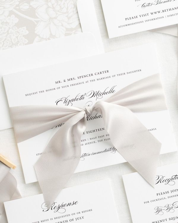 Timeless Elegance Ribbon Wedding Invitations