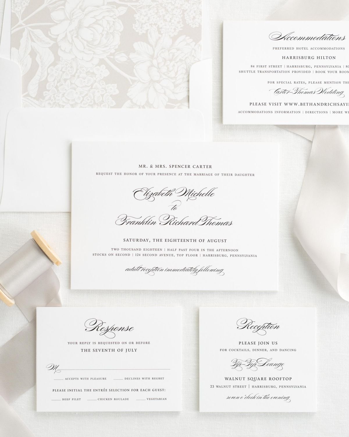 Wedding Invitation Set with Silk Ribbon