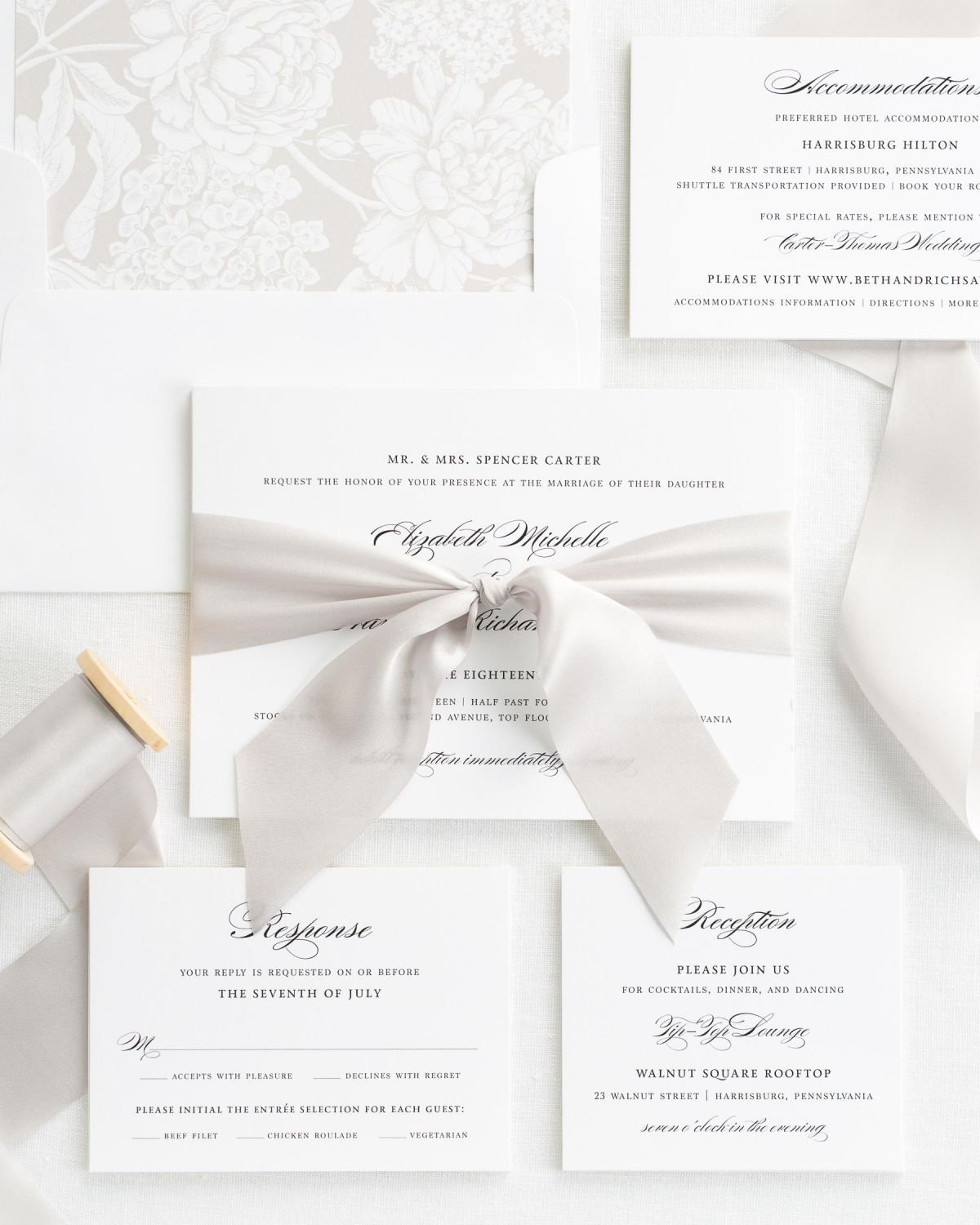 Ribbon Wedding Invitation Package