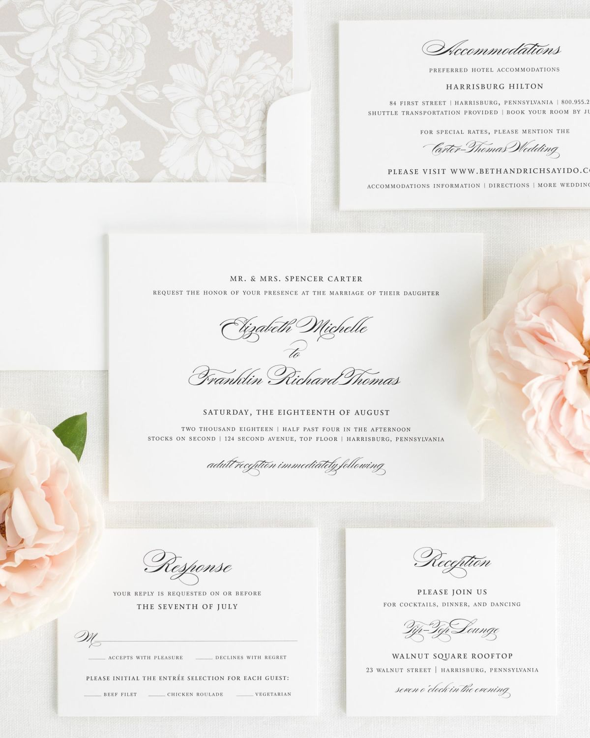 Elegant Wedding Invitations with Small Script Names