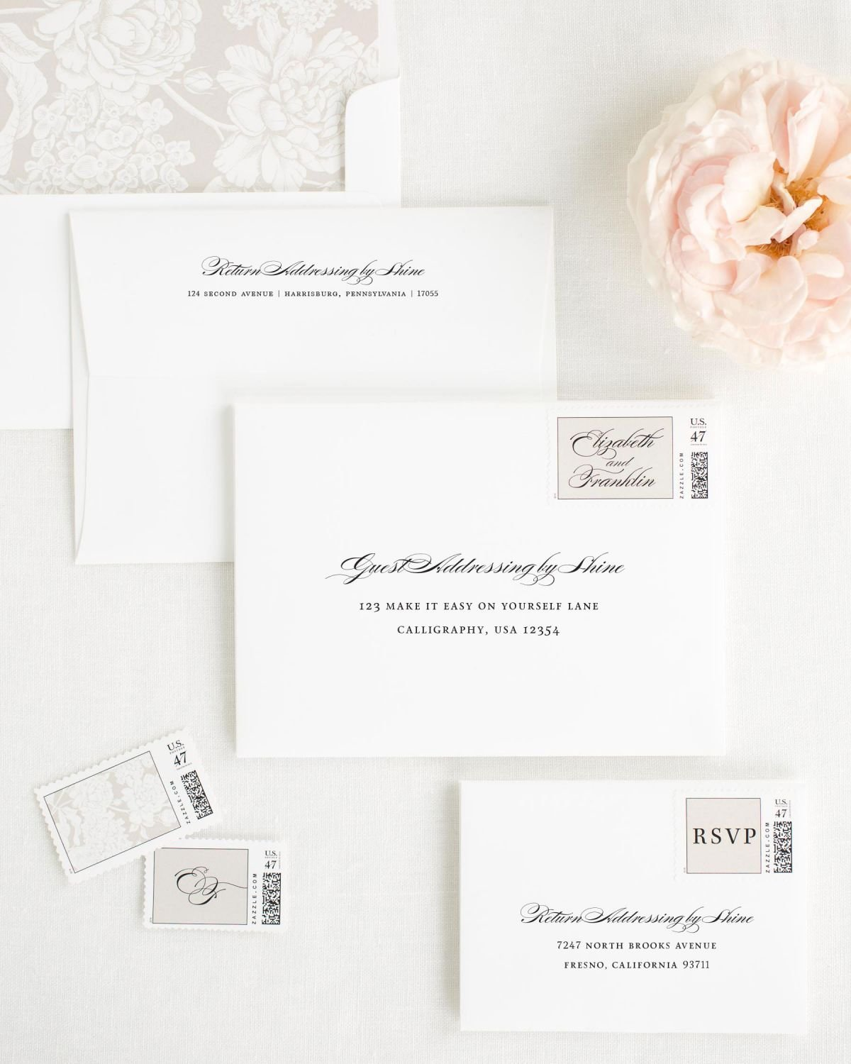Wedding Invitation Envelopes with Trellis Envelope Liner and Custom Postage Stamps