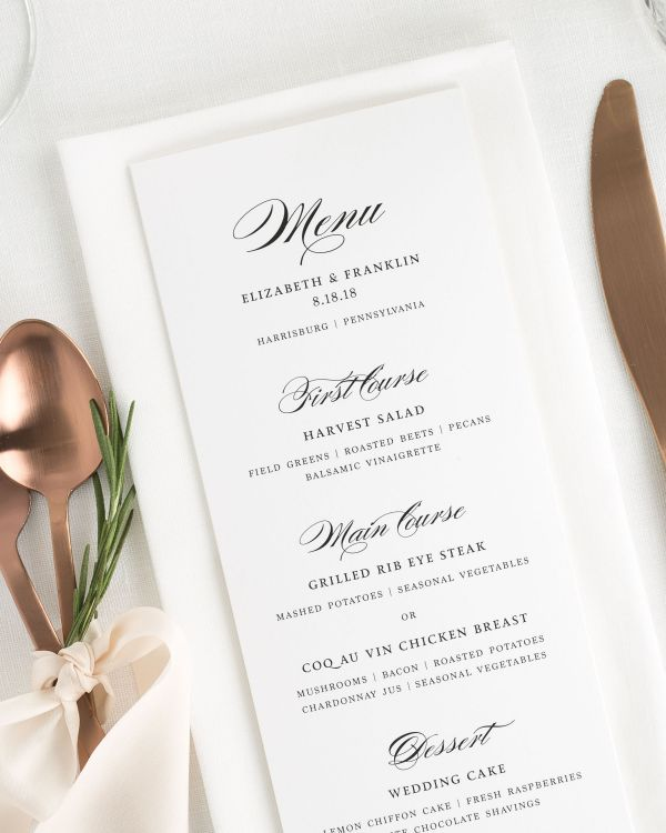 Timeless Elegance Wedding Menus