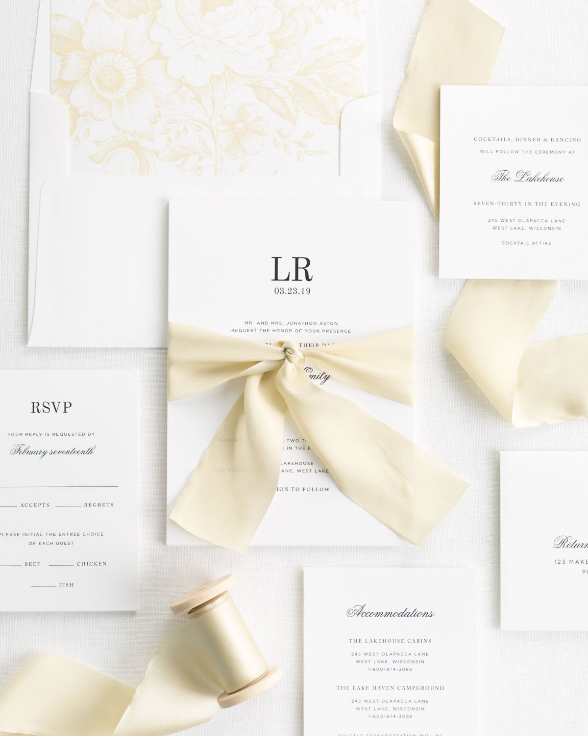 Complete Wedding Invitation Set] with Honey Ribbon and Enclosures