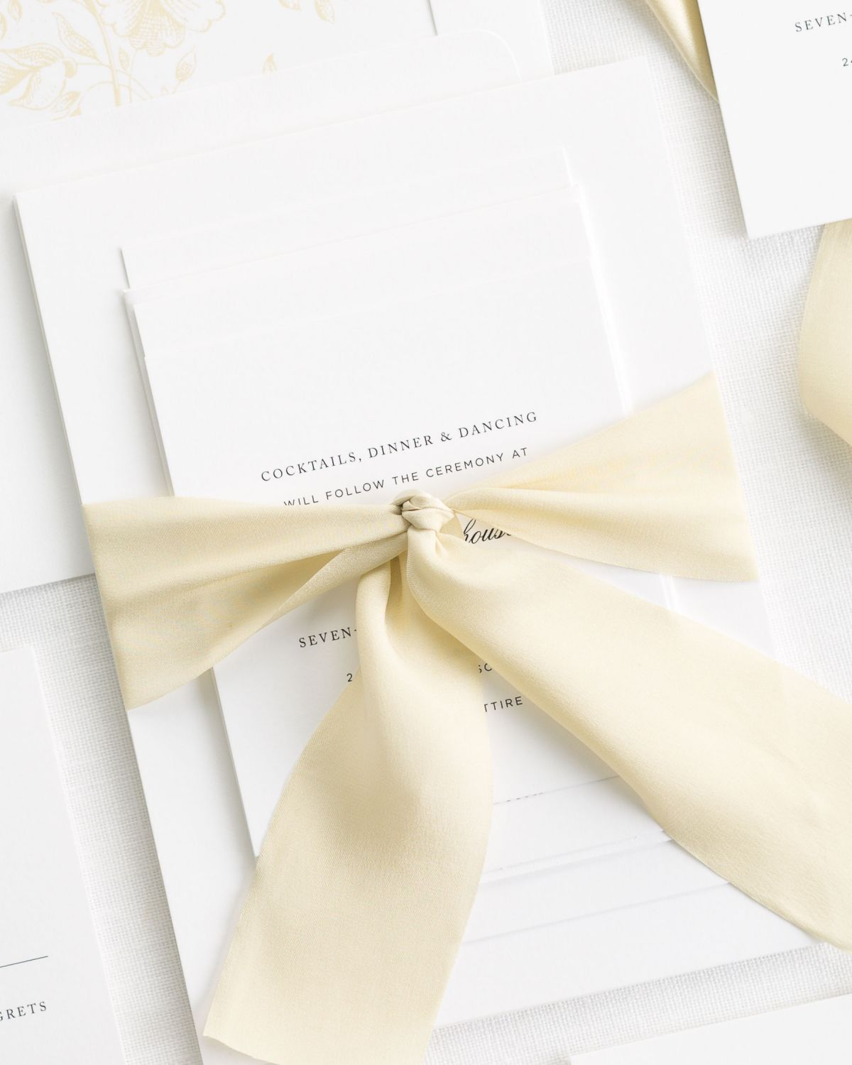 Gold Dust Wedding Invitations with Silk Ribbon