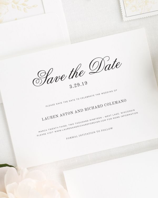 Timeless Monogram Save the Date Cards