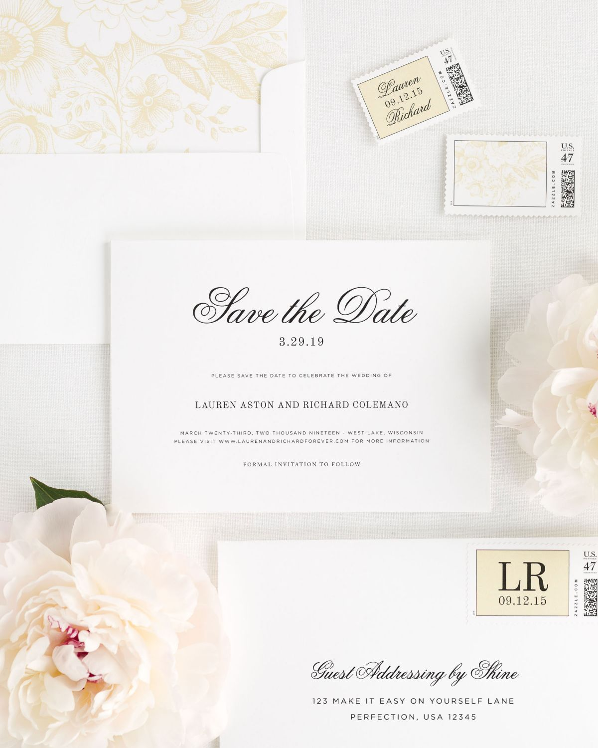 Save The Date with envelope and custom stamp