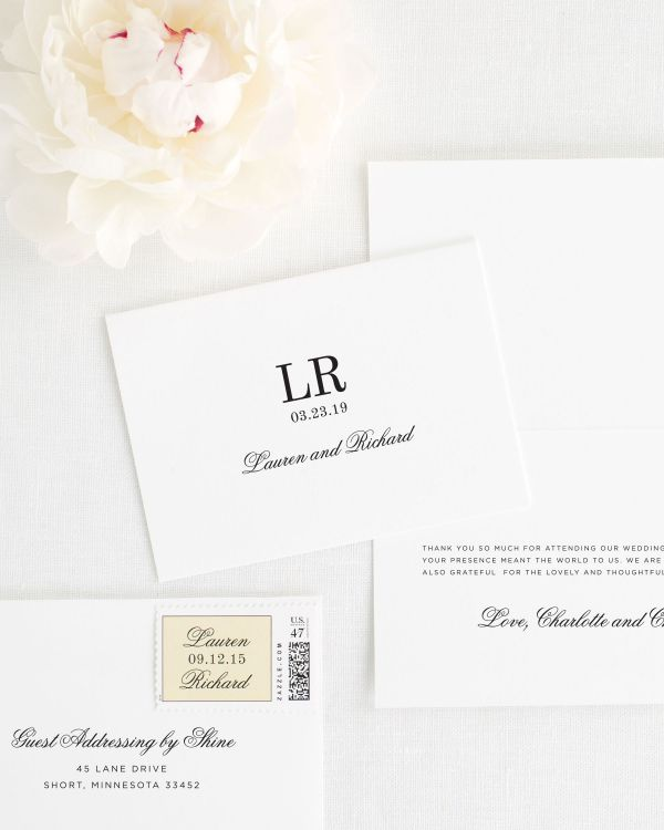 Timeless Monogram Thank You Cards