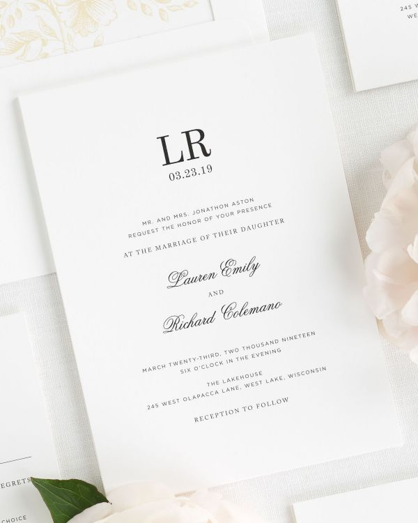 Timeless Monogram Wedding Invitations