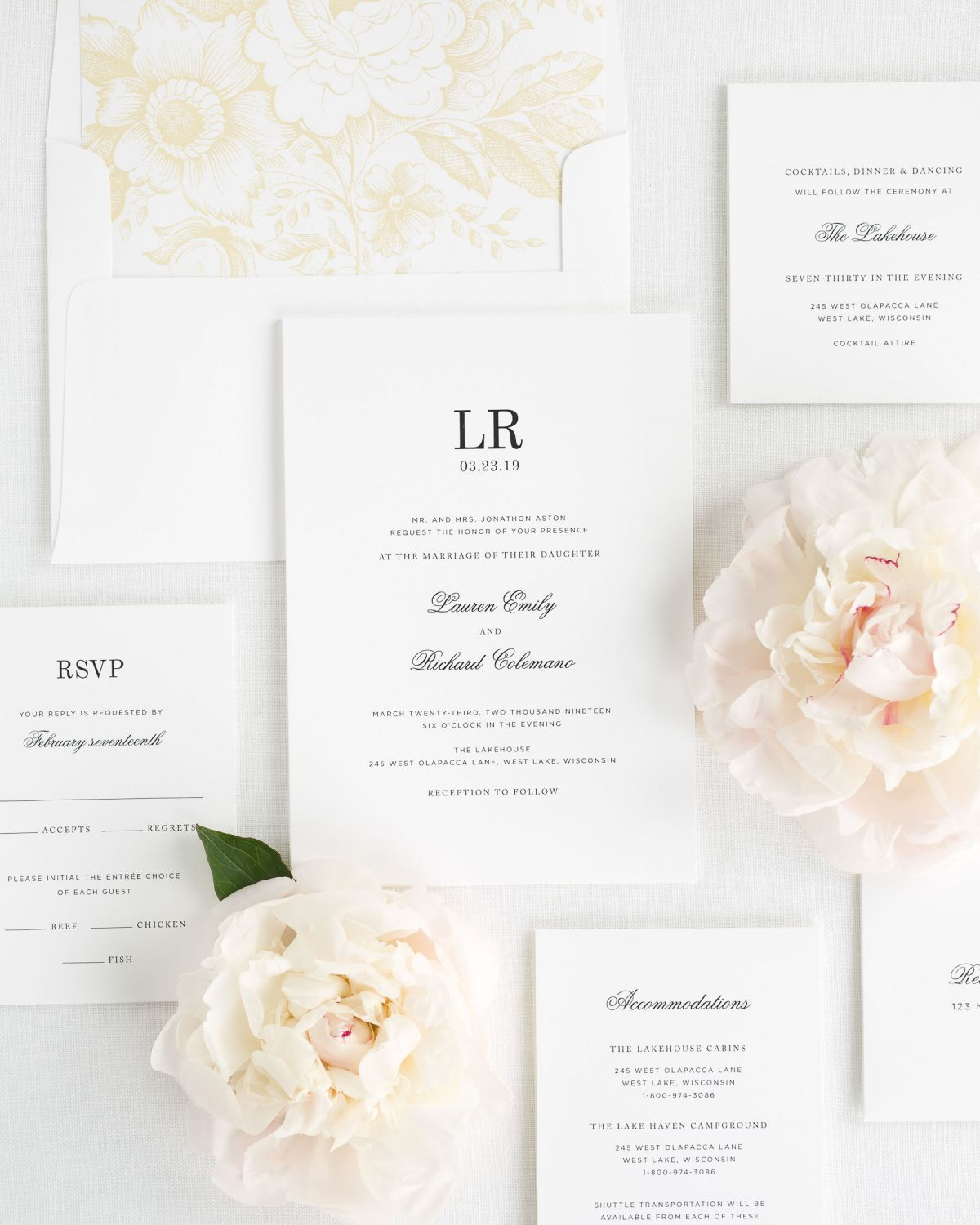 Wedding Invitation Suite with Floral Envelope Liner in Ivory