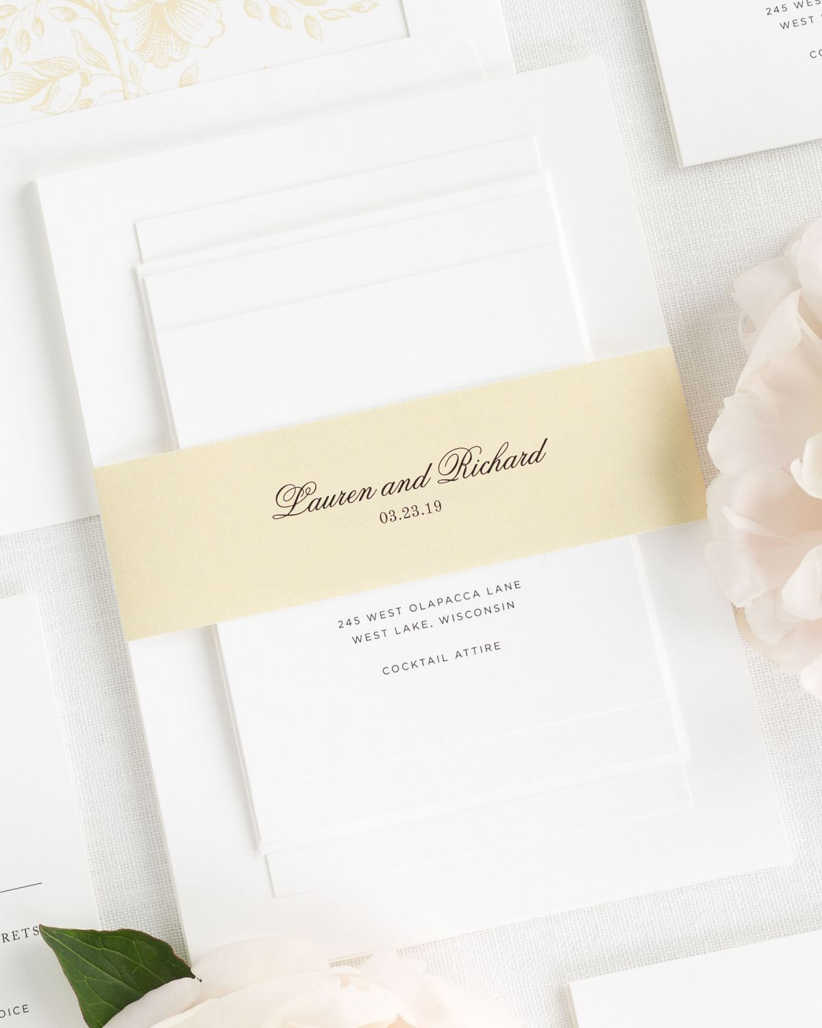 Classic Wedding Invitations in Light Gold with Belly Band