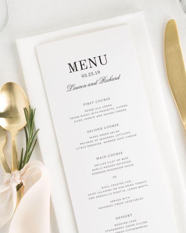 Timeless Monogram Wedding Menus