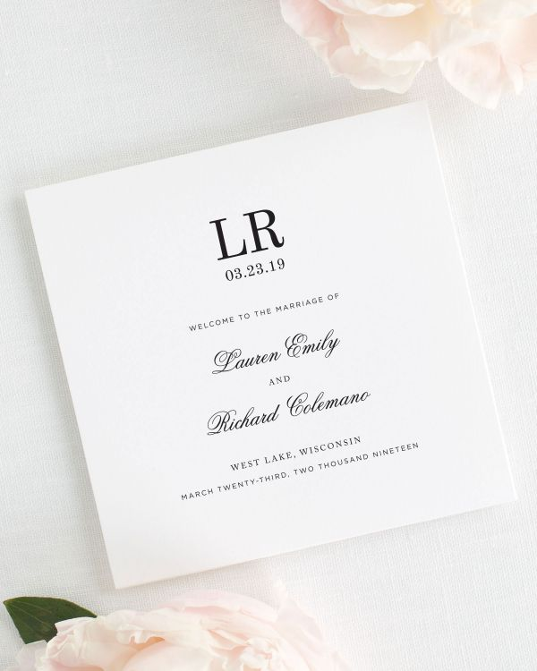 Timeless Monogram Wedding Programs