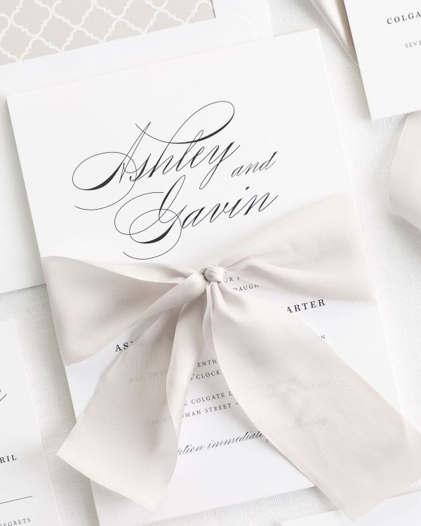 Timeless Script Ribbon Wedding Invitations