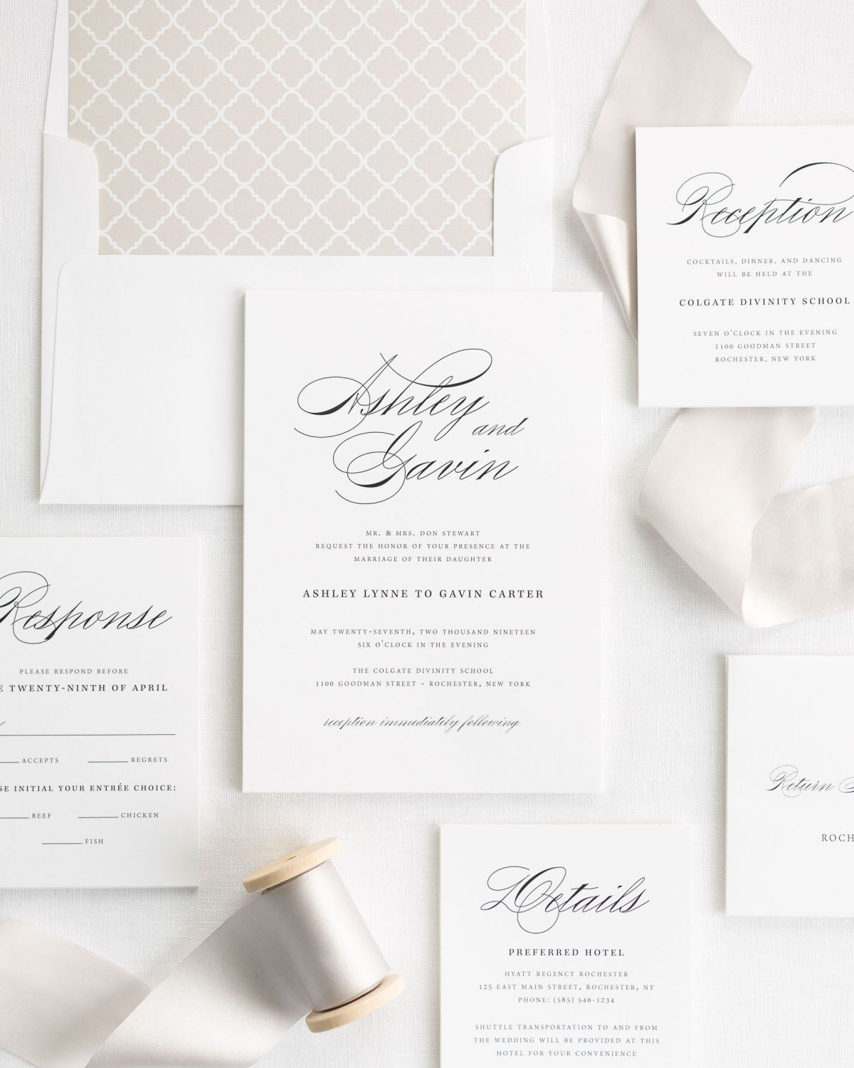 Wedding Invitation Suite with Silk Ribbon