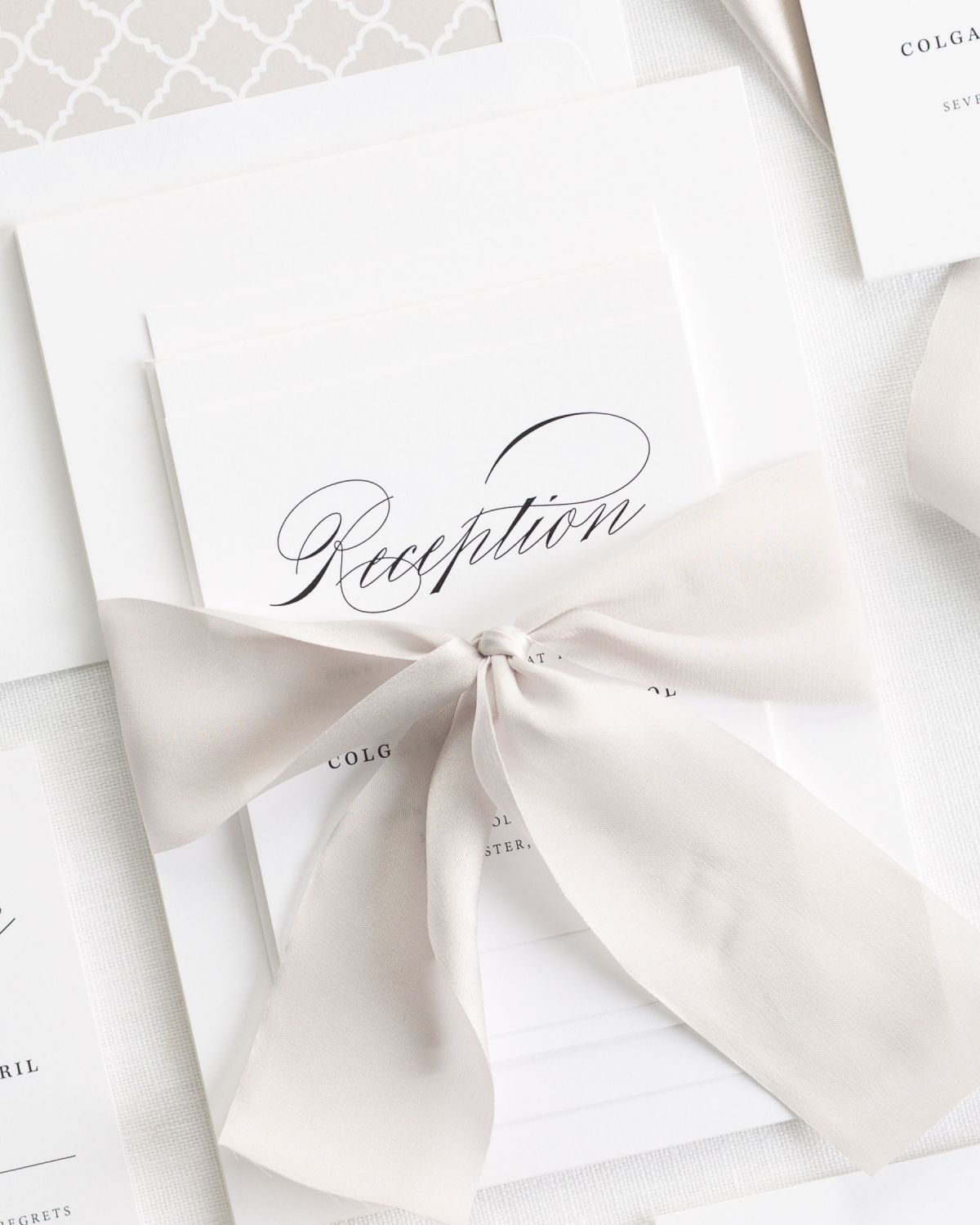 Mocha Wedding Invitations with Silk Ribbon