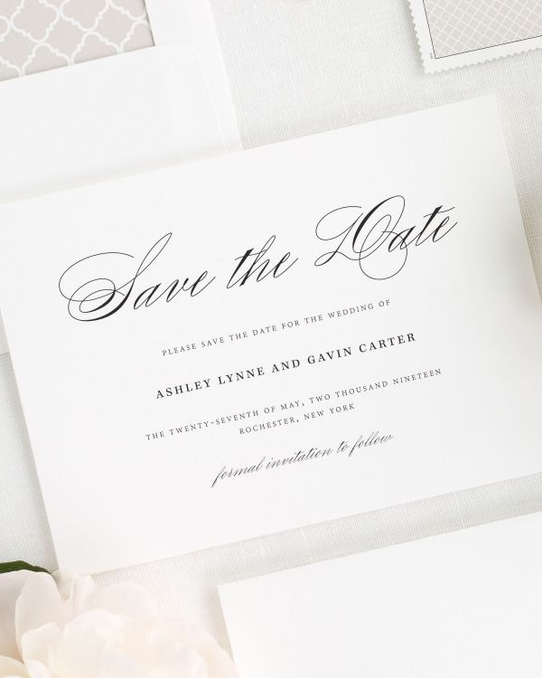 Timeless Script Save the Date Cards