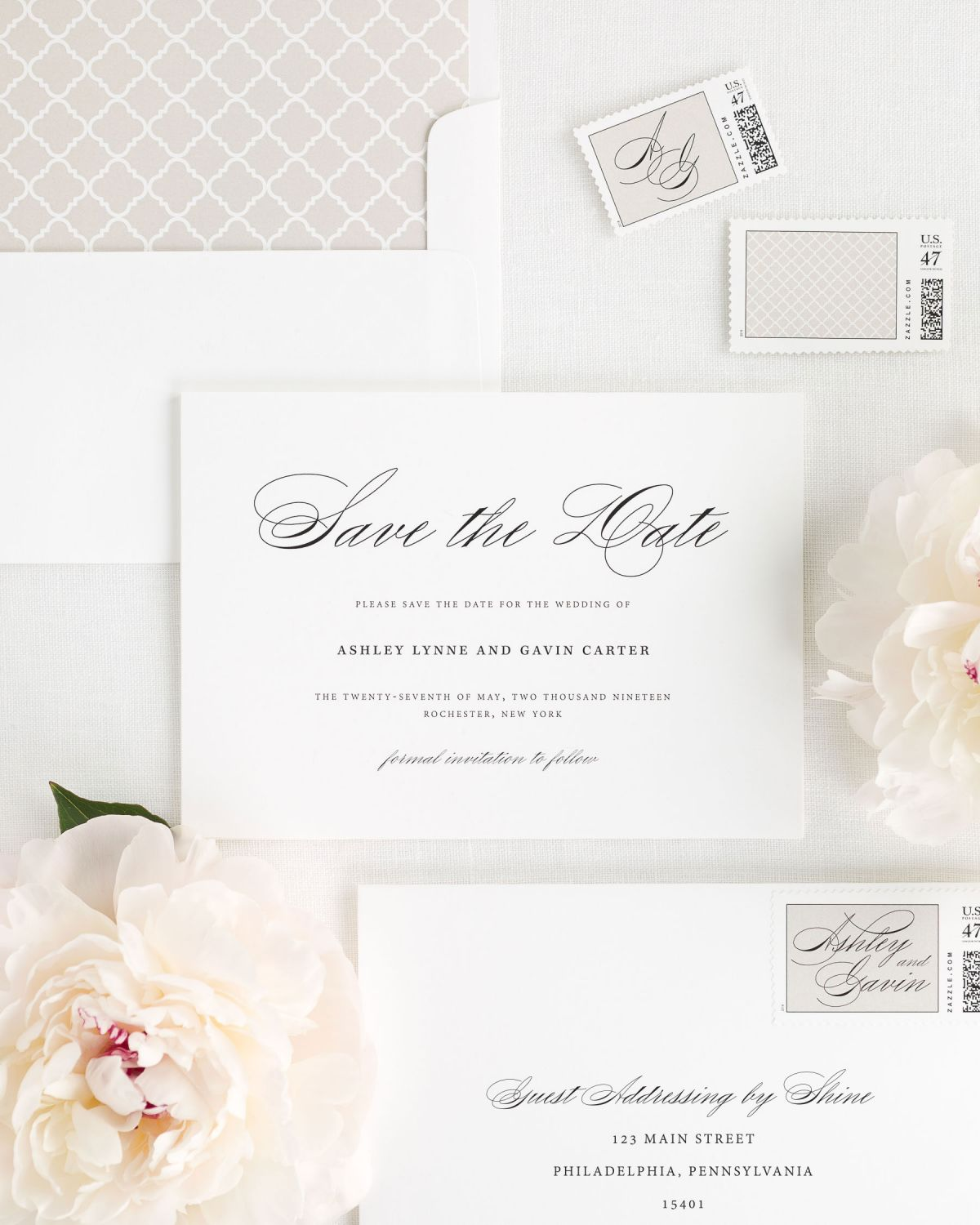 Save the Date with Mocha Envelope Liner and Custom Postage Stamps
