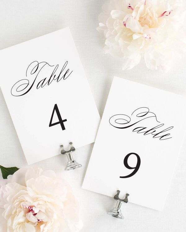 Timeless Script Table Numbers